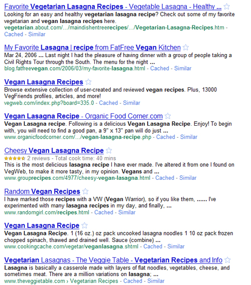 Vegan = Vegetarian.  It does if you're Google and you're scrambling to find relevant results.